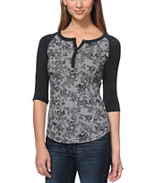 Empyre Girls Knox Black & Grey Floral Print Henley Shirt