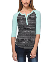 Empyre Girls Knox Black & Mint Tribal Print Henley Shirt