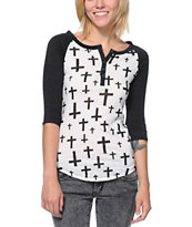 Empyre Girls Knox Black & White Cross Print Henley Shirt