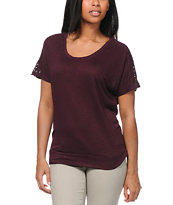 Empyre Girls Lafayette Blackberry Crochet Tee Shirt