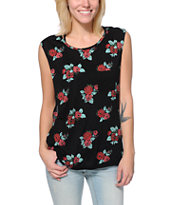 Empyre Girls Lauryn Black Floral Print Rayon Muscle Tank Top