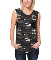 Empyre Girls Lauryn Camo Print Rayon Muscle Tank Top