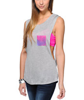 Empyre Girls Lauryn Galaxy Pocket Grey Muscle Tank Top