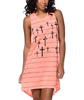 Empyre Girls Lexie Crosses Coral Open Back Tank Dress