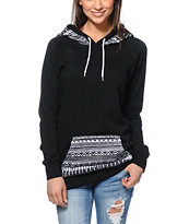 Empyre Girls Long Beach Tribal Print Black Pullover Hoodie