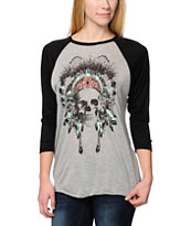 Empyre Girls Made Of Skull Grey & Black Baseball Tee Shirt