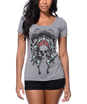 Empyre Girls Made Of Skull Grey Scoop Neck Tee Shirt