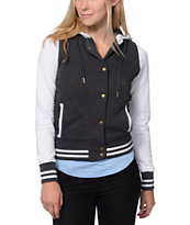 Empyre Girls Madison Charcoal & White Fleece Varsity Jacket