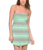 Empyre Girls Mint & Grey Stripe Strapless Dress