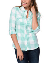 Empyre Girls Mint Buffalo Plaid Button Up Shirt