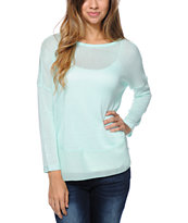 Empyre Girls Mint Chiffon Back Sweater