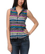 Empyre Girls Nadia Tribal Print Sleeveless Shirt