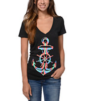 Empyre Girls Native Anchor Charcoal V-Neck Tee Shirt