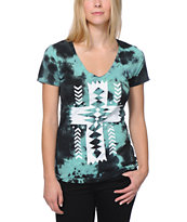 Empyre Girls Native Cross Green Tie Dye V-Neck Tee Shirt