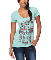 Empyre Girls Native Fill Cross Mint V-Neck Tee Shirt