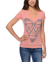 Empyre Girls Native Heart Heather Coral V-Neck Tee Shirt