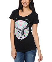 Empyre Girls Native Horns Black Scoop Neck Tee Shirt