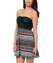 Empyre Girls Nia Black Tribal Print Strapless Dress