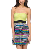 Empyre Girls Nia Sulphur Tribal Print Strapless Dress