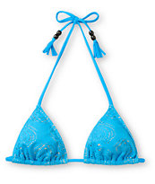 Empyre Girls Oasis Neon Blue Crochet Triangle Bikini Top