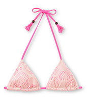 Empyre Girls Oasis Pink & White Crochet Triangle Bikini Top