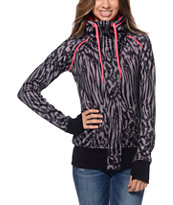 Empyre Girls Oracle Black Animal Print Tech Fleece Jacket
