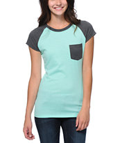 Empyre Girls Petra Ice Green & Charcoal Pocket Tee Shirt