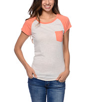Empyre Girls Petra Oatmeal & Coral Pocket Tee Shirt