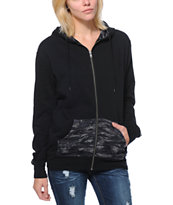 Empyre Girls Pico Camo Print Oversized Black Zip Up Hoodie