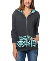 Empyre Girls Pico Tribal Print Oversized Charcoal Zip Up Hoodie
