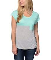 Empyre Girls Pioneer Heather Grey & Ice Green Pocket Tee Shirt