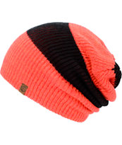 Empyre Girls Piper Black & Coral Rugby Stripe Lurex Beanie
