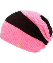 Empyre Girls Piper Knockout Pink & Black Rugby Stripe Beanie
