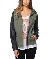 Empyre Girls Quincy Olive & Black Military Jacket