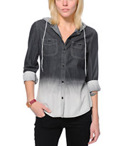 Empyre Girls Raleigh Black Dip Dye Button Up Shirt