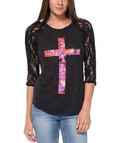 Empyre Girls Richland Black Lace Top