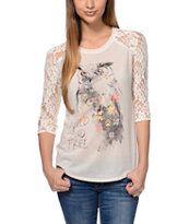 Empyre Girls Richland Vanilla White Lace Top
