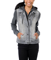 Empyre Girls Roanoke Grey Hooded Vest Jacket