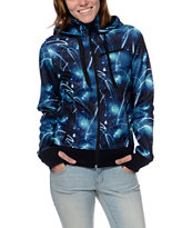 Empyre Girls Sarana Galaxy Print Black Fleece Tech Jacket