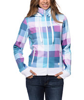 Empyre Girls Sarana Teal & Purple Grid Plaid Tech Fleece Jacket