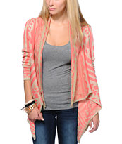 Empyre Girls Sherbet & Taupe Tribal Print Wrap Sweater