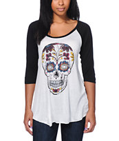 Empyre Girls Skull White & Black Baseball Tee Shirt