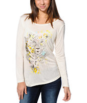 Empyre Girls Susan Animal Vanilla White Lace Top