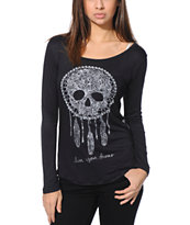 Empyre Girls Susan Dream Catcher Skull Black Lace Top