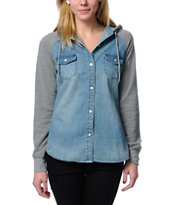 Empyre Girls Sycamore Hooded Denim Shirt
