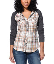 Empyre Girls Sycamore Natural & Charcoal Hooded Flannel