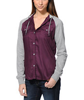 Empyre Girls Sycamore Purple & Grey Hooded Shirt
