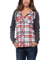 Empyre Girls Sycamore Red & Grey Plaid Hooded Flannel Shirt