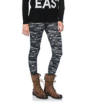 Empyre Girls Tiger Camo Print Black & Grey Leggings