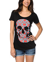 Empyre Girls Tiled Skull Black Tee Shirt